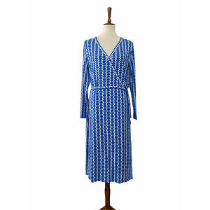 Boden A Line Wrap Dress Long Sleeve Blue White 12L